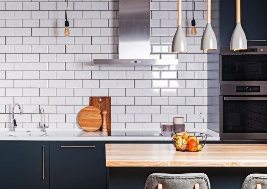 white tiles in a kitchen at Mackay Tilers